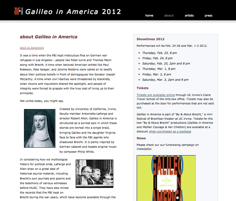 Galileo in America website